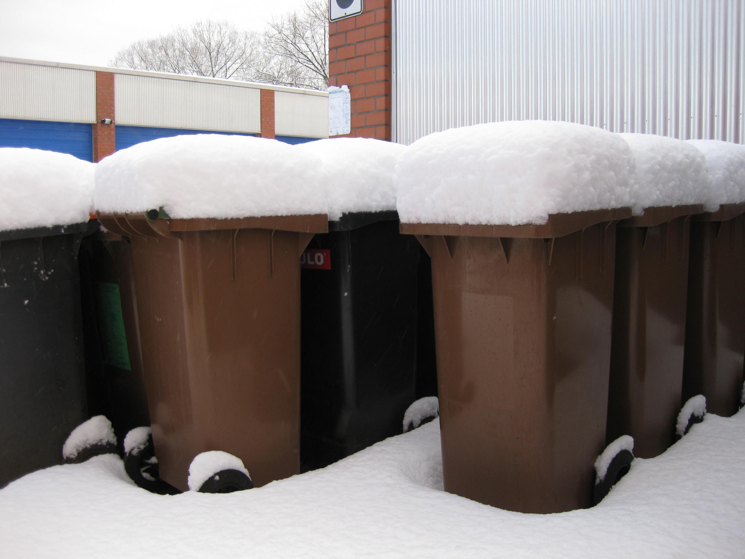 Muelltonnen unter einer Schneehaube im Winter